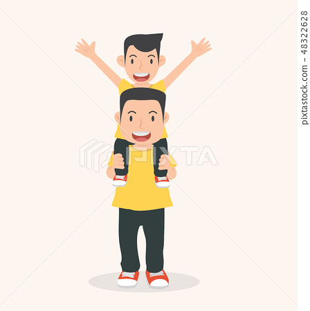 Happy Father with son a piggyback ride 48322628