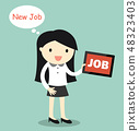 Business woman is thinking about new job. 48323403