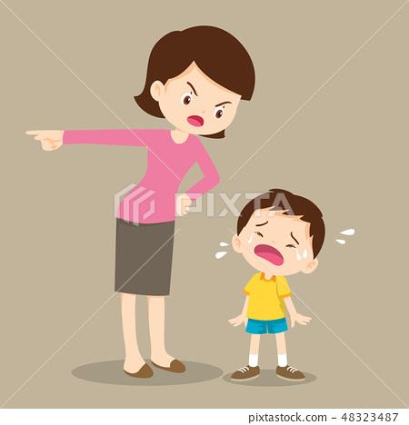 mother scolding sad children 48323487