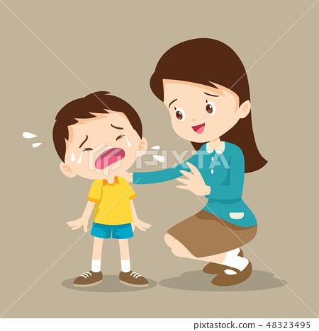 Teacher Comforting crying boy 48323495