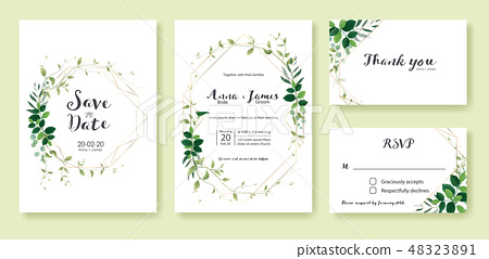 Leaves wedding invitation card. Wedding... - Stock Illustration ...