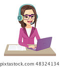 Call Center Operator Girl Working 48324134