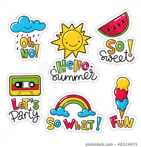 Set of cool stickers, patches with text and summer elements.  48324635