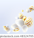 Happy Easter holiday background with 3d eggs 48324705