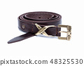Thin brown rolled belt isolated on white 48325530