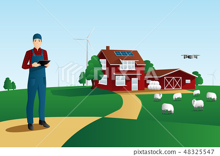 Modern farmer on a smart farm 48325547