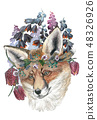 Beautiful fox in a wreath of wild flowers. Watercolor illustration for greeting card, poster, or 48326926