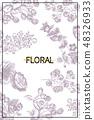 Wild flowers blossom branch background. Vintage botanical hand drawn illustration. Vector design 48326933
