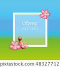 spring holiday background with pink cherry blossom flowers 48327712