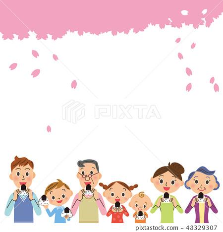 三代家庭在櫻花下吃飯糰 48329307