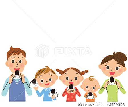 Families eating onigiri 48329308