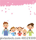 Families who eat rice balls under the cherry blossoms 48329309