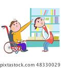 높은 책장에있는 책을 가리키는 휠체어를 탄 남성과 응대하는 여성 점원 또는 도서관 직원 48330029