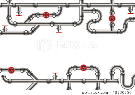 Creative vector illustration of industrial oil, water, gas pipe system and ware pipeline fittings 48330256