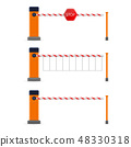 Creative vector illustration of open, closed parking car barrier gate set with stop sign isolated on 48330318