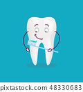 Cute Cartoon Tooth With Toothbrush And Paste Isolated On A Background. Vector Illustration. 48330683