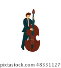 Young Man Playing Double Bass, Male Musicain Playing Classical Music Vector Illustration 48331127