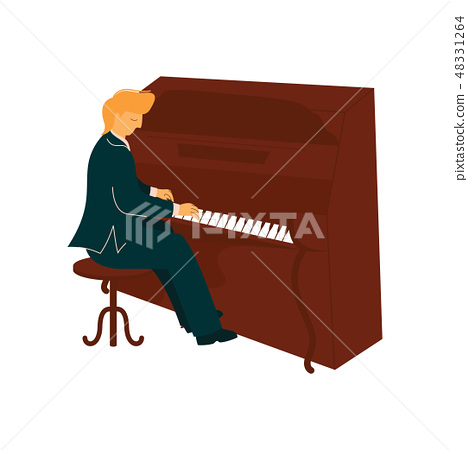 Male Musician Playing Piano, Pianist with Classical Musical Instrument Vector Illustration 48331264