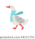 Cute White Goose Cartoon Character Walking with Warm Scarf Vector Illustration 48331701