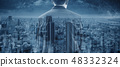 Double exposure businessman and blue cityscape 48332324