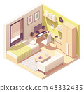 Vector isometric teenager or student room 48332435