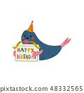 Cute Whale Character Wearing Party Hat Holding Happy Birthday Signboard Vector Illustration 48332565