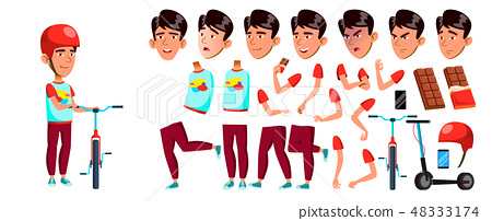 Asian Boy Boy Schoolboy Kid Vector. Primary School Child. Animation Creation Set. Children. Smile 48333174