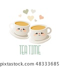 Tea time. Cute illustration with two cups of tea.  48333685