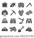 Coal mining factory industry icons set. Vector 48335740
