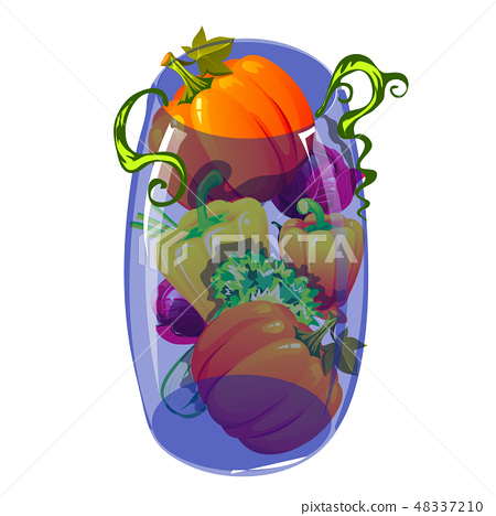 Blue glass transparent vase filled with ripe vegetables isolated on white background. Vector cartoon 48337210