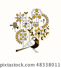 Floral flat design concept. Digital vector composition with Bird, flowers and plants 48338011