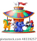 Cute funny animated animals ride the carousel isolated on white background. Merry-go-round. Vector 48339257