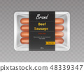 Beef sausages in sealed packaging realistic vector 48339347