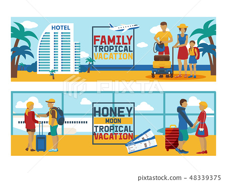 Vacation vector traveling people traveler man woman character on holidays illustration backdrop 48339375