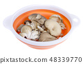 Fresh oyster mushrooms in black container  48339770
