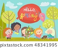 Cute little girls meeting spring in park 48341995