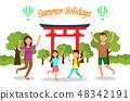 Summer Holidays in Japan Travel Vector Postcard 48342191