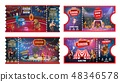 Circus tickets with acrobats, animals and magician 48346578