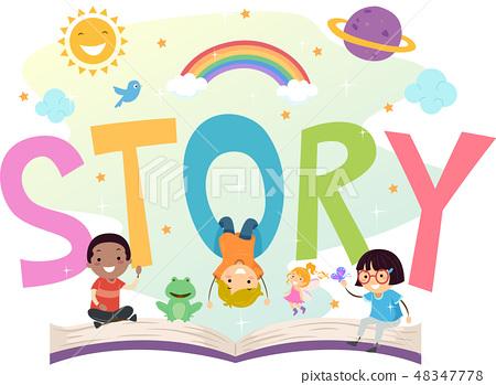 Stickman Kids Story Open Book Illustration 48347778