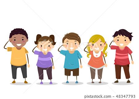 Stickman Kids Hand Salute Illustration 48347793