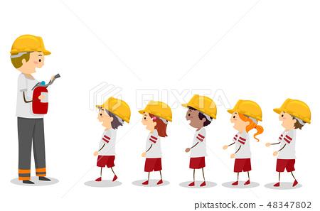 Stickman Kids Fire Camp Fireman Line Illustration 48347802