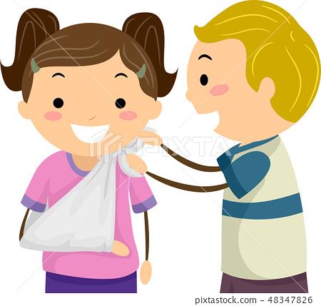 Stickman Kids First Aid Arm Sling Illustration 48347826