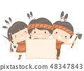 Kids American Indian Board Illustration 48347843