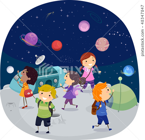 Stickman Kids Planetarium Illustration 48347847