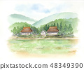 Country landscape Watercolor painting 48349390