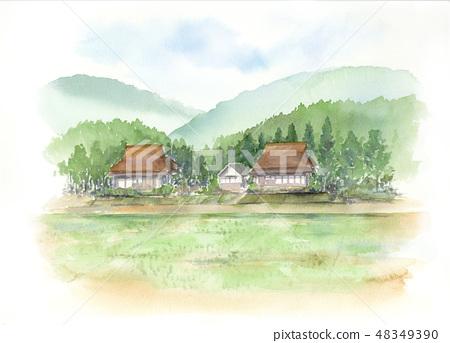 시골 풍경 수채화 48349390