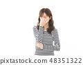 젊은 여성 국경 부정적인 비염 안정 피로 48351322