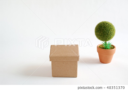 A cardboard house on a white paper and a round potted tree of a creature 48351370