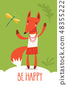 Cute vector be happy card with funny fox 48355222