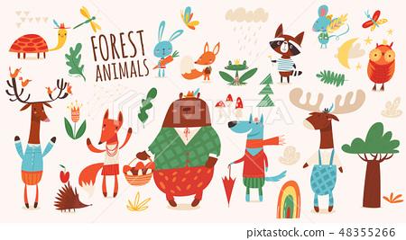 Big vector set of cartoon forest animals. 48355266